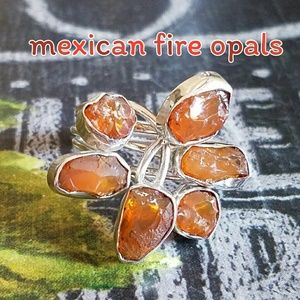 Mexican Fire Opals Ring Sterling Silver NEW